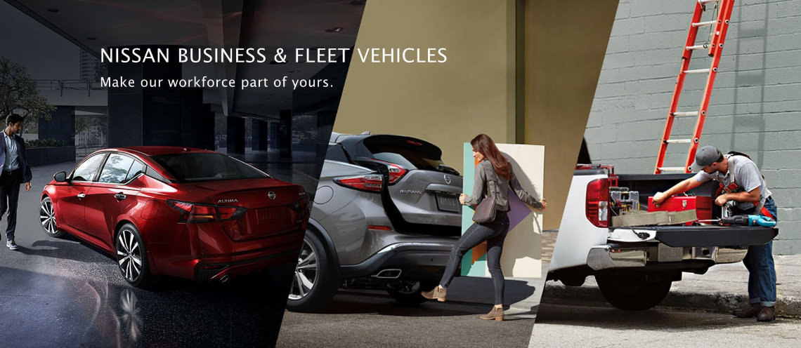 A Nissan Altima, Nissan Murano and Nissan Titan accompanied with a working professional near each vehicle