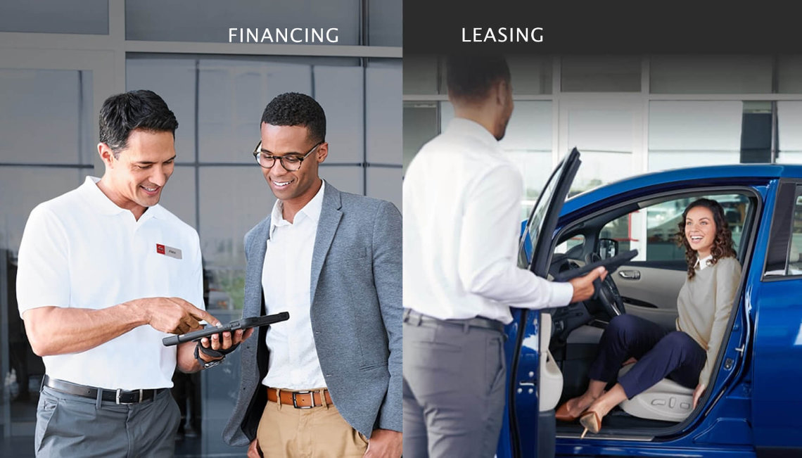 Nissan sales professionals with tablets assisting customers; one outside and another inside a dealership showroom
