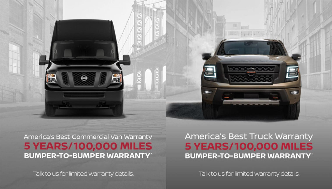 A black Nissan NV van and a Nissan Titan XD truck with a city background in grey scale